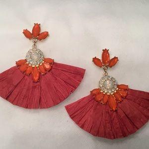 Jewelry - Rhinestone Raffia Drop Earrings
